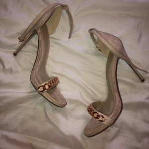 Missguided tan strap heels